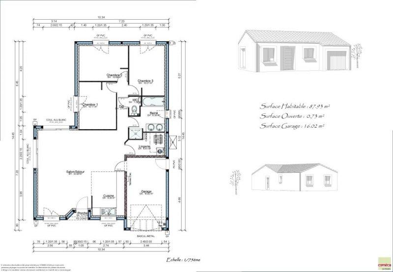 Vente filumena lire pavillon 3 chambres avec garage for Garage ad oudon